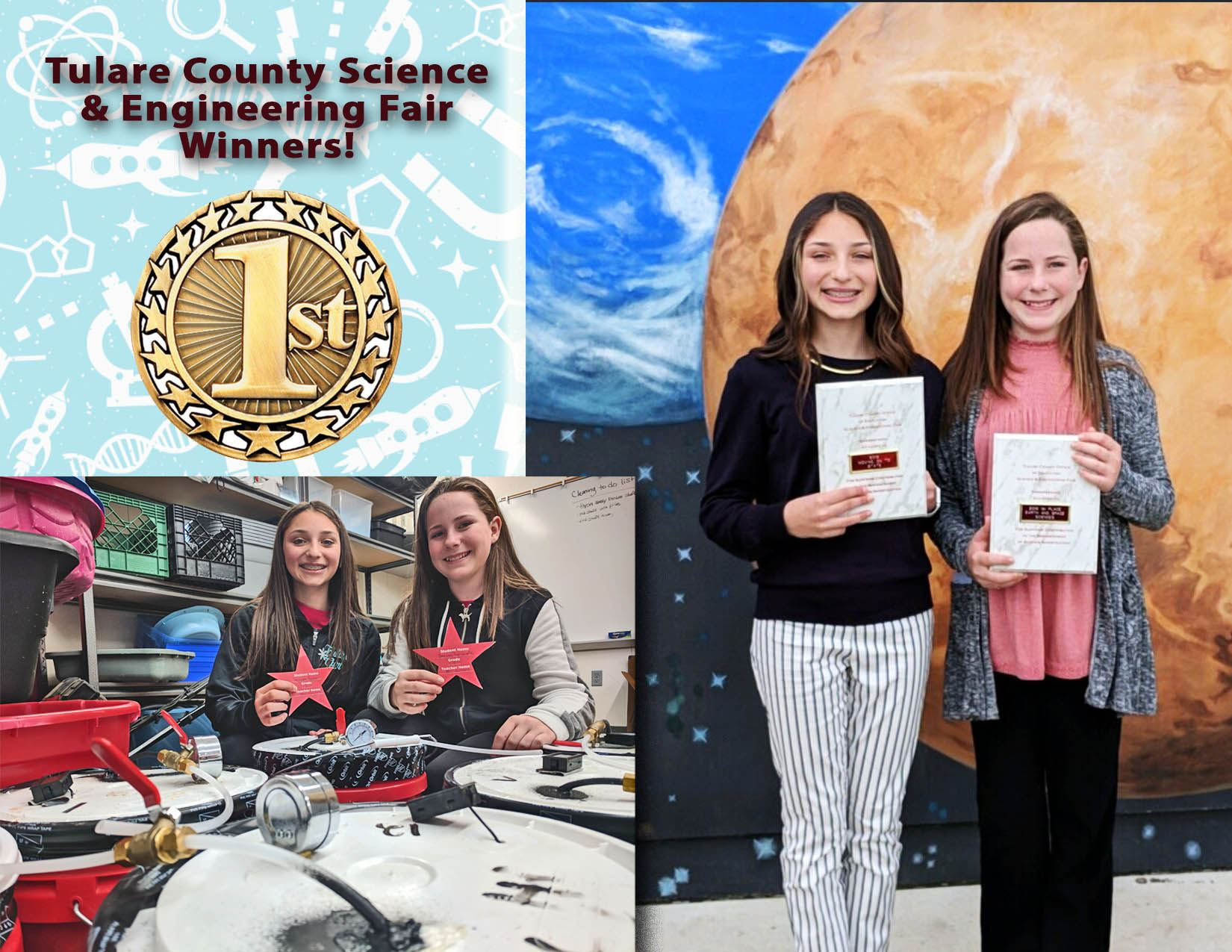 Jacqueline Rocha and Breann Amarante Win 1st place at the Tulare County Science & Engineering Fair.