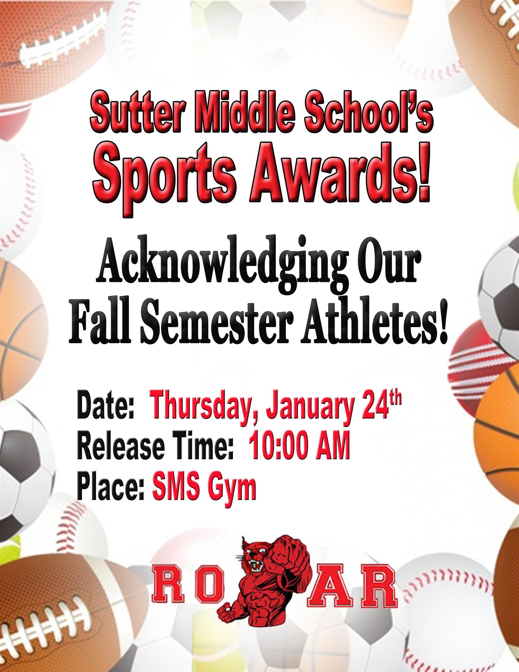 Fall Semester Sports Awards: Jan. 24 at 10:00 am