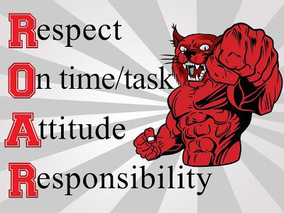 R.O.A.R.: Respect, On time & on task, Attitude, Responsibility