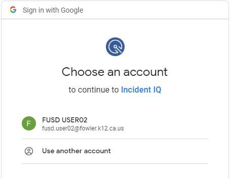 Choose an account to continue to Incident IQ